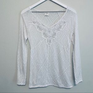 Free People | White Sheer Long Sleeve Top